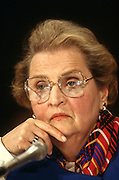 Secretary of State Madeleine Albright during a hearing on chemical weapons April 8, 1997. The Senate faces a vote to ratify the global chemical weapons treaty.
