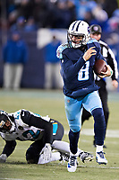 NASHVILLE, TN - DECEMBER 31:  Marcus Mariota #8 of the Tennessee Titans runs the ball during a game against the Jacksonville Jaguars at Nissan Stadium on December 31, 2017 in Nashville, Tennessee.  The Titans defeated the Jaguars 15-10.  (Photo by Wesley Hitt/Getty Images) *** Local Caption *** Marcus Mariota