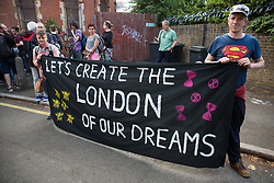 London, UK. 18 July, 2019. Climate activists from Extinction Rebellion protest outside Heathrow's 'masterplan' consultation event in Lambeth against plans for a third runway at Heathrow airport and to highlight Heathrow airport's major contribution to climate change.