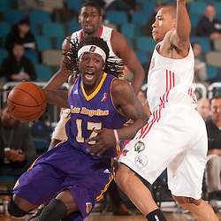 RENO, NV - JANUARY 11:  Courtney Fortson #17 of the Los Angeles Defenders drives to the baseline around defender Jerome Randle #7 of the Maine Red Claws during the 2012 NBA D-League Showcase inside the Reno Events Center in Reno, Nev., Wednesday, Jan. 11, 2012.  NOTE TO USER: User expressly acknowledges and agrees that, by downloading and or using this photograph, User is consenting to the terms and conditions of the Getty Images License Agreement. Mandatory Copyright Notice: Copyright 2012 NBAE  (Photo by David Calvert/NBAE via Getty Images) *** Local Caption *** Courtney Fortson;Jerome Randle