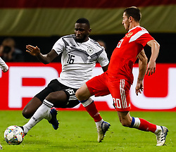November 15, 2018 - Leipzig, Germany - Antonio Rudiger (L) of Germany and Aleksey Ionov of Russia vie for the ball during the international friendly match between Germany and Russia on November 15, 2018 at Red Bull Arena in Leipzig, Germany. (Credit Image: © Mike Kireev/NurPhoto via ZUMA Press)
