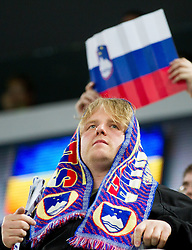 Supporters of Slovenia during ice-hockey match between Great Britain and Slovenia at IIHF World Championship DIV. I Group A Slovenia 2012, on April 15, 2012 in Arena Stozice, Ljubljana, Slovenia. Slovenia defeated Great Britain 3-2. (Photo by Vid Ponikvar / Sportida.com)