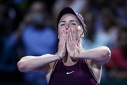 October 28, 2018 - Singapore - Elina Svitolina of the Ukraine celebrates her win during the Singles Championship match between Sloane Stephens and Elina Svitolina on day 8 of the WTA Finals at the Singapore Indoor Stadium. (Credit Image: © Paul Miller/ZUMA Wire)