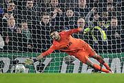 PENALTY GOAL Tottenham Hotspur goalkeeper Paulo Gazzaniga (22) fails to save the winning penalty from Chelsea defender David Luiz (30), during the EFL Cup semi final second leg match between Chelsea and Tottenham Hotspur at Stamford Bridge, London, England on 24 January 2019.