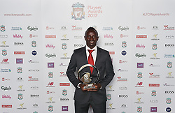 LIVERPOOL, ENGLAND - Tuesday, May 9, 2017: Liverpool's Sadio Mane wins the Player of the Season 2017 Award sponsored by Standard Chartered at the Liverpool FC Players' Awards 2017 at Anfield. (Pic by Andrew Powell/Liverpool FC/Pool/Propaganda)