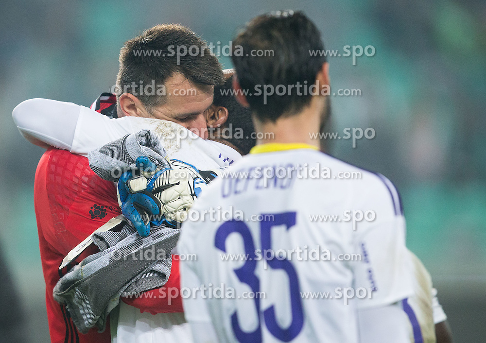 Jasmin Handanovic and Marcos Tavares of Maribor celebrate after winning during football match between NK Olimpija and NK Maribor in Round #13 of Prva liga Telekom Slovenije 2016/17, on October 15, 2016 in SRC Stozice, Ljubljana, Slovenia. Photo by Vid Ponikvar / Sportida