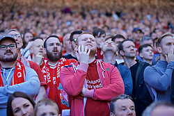 LIVERPOOL, ENGLAND - Sunday, May 12, 2019: Liverpool supporters reacts nervously during the final FA Premier League match of the season between Liverpool FC and Wolverhampton Wanderers FC at Anfield. (Pic by David Rawcliffe/Propaganda)
