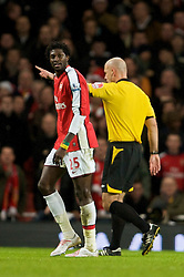 LONDON, ENGLAND - Sunday, December 21, 2008: Arsenal's Emmanuel Adebayor walks off after being sent off during the Premiership match against Liverpool at the Emirates Stadium. (Photo by David Rawcliffe/Propaganda)