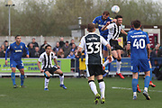 Gillingham midfielder Mark Byrne (33) watching AFC Wimbledon striker James Hanson (18) scoring goal during the EFL Sky Bet League 1 match between AFC Wimbledon and Gillingham at the Cherry Red Records Stadium, Kingston, England on 23 March 2019.