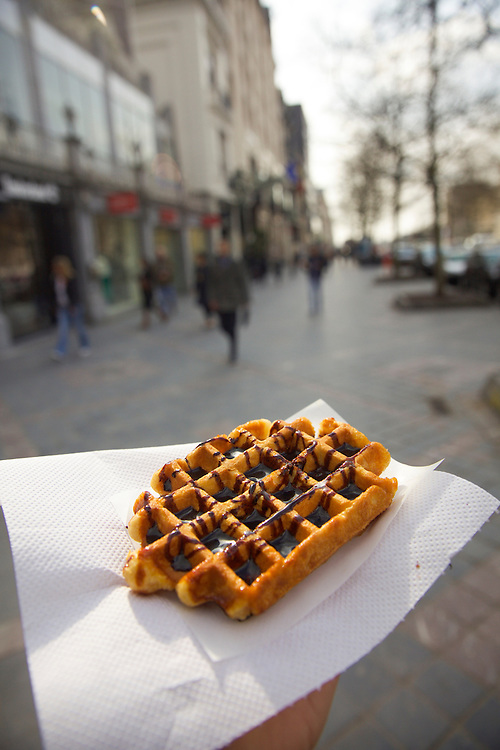 Traditional waffles with chocolate in Brussels, Belgium.
