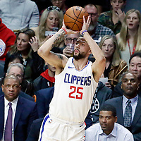26 December 2017: LA Clippers guard Austin Rivers (25) takes a jump shot during the LA Clippers 122-95 victory over the Sacramento Kings, at the Staples Center, Los Angeles, California, USA.