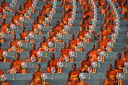 Monks prepare for evening meditation on Makha Bucha Day at the Dhammakaya Temple outside Bangkok.