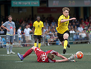 HKFC Citibank Soccer sevens Aston Villa vs Wellington Phoenix. JORDAN COX of Aston Villa fights to get the ball from the Wellington Phoenix goalie Oliver Sail