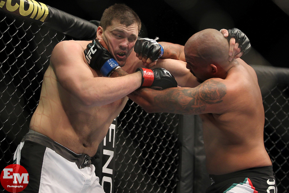 September 25, 2010; Indianapolis, IN; USA; Matt Mitrione (white trunks) and Joey Beltran (Black trunks) during their bout at UFC 119 at the Conseco Fieldhouse in Indianapolis, IN. Mitrione won via unanimous decision.