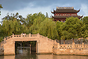 Bridge and Changmen Gate at Shantang Street in Suzhou, China.