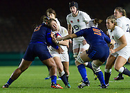 Marlie Packer tackled, England Women v France Women in an Old Mutual Wealth Series, Autumn International match at Twickenham Stoop, Twickenham, England, on 9th November 2016. Full Time score 10-5