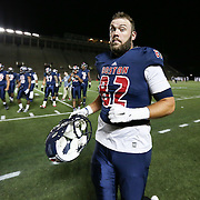 Cam White #82 of the Boston Brawlers runs off of the field prior to the first ever Boston Brawlers home game at Harvard Stadium on October 24, 2014 in Boston, Massachusetts. (Photo by Elan Kawesch)