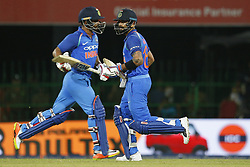 September 3, 2017 - Colombo, Sri Lanka - Indian cricket captain Virat Kohli and Kedar Jadhav congratulate each other during the 5th and final One Day International cricket match between Sri Lanka and India at the R Premadasa international cricket stadium at Colombo, Sri Lanka on Sunday 3 September 2017. (Credit Image: © Tharaka Basnayaka/NurPhoto via ZUMA Press)