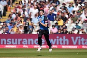 Pat Brown of Worcestershire Rapids running in to bowl to Chris Nash during the Vitality T20 Finals Day 2019 match between Notts Outlaws and Worcestershire Rapids at Edgbaston, Birmingham, United Kingdom on 21 September 2019.