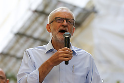 © Licensed to London News Pictures. 20/09/2019. London, UK. Leader of the Labour Party JEREMY CORBYN speaking at the rally attended by tens of thousands of students of all ages take part in climate change global and general strike in Westminster. It is one of more than 150 events planned across the U.K. to demand urgent action to tackle climate change. Photo credit: Dinendra Haria/LNP