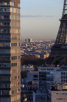 Looking down over the city from the Adagio Paris Hotel, near the Eiffel Tower on the Rue de Theatre.
