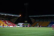 10th November 2017, McDiarmid Park, Perth, Scotland, UEFA Under-21 European Championships Qualifier, Scotland versus Latvia; One of the floodlights goes out halting the Scotland v Latvia under 21 clash