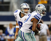 Dallas Cowboys quarterback Tony Romo (9) hands the ball off to running back DeMarco Murray (29) against the Pittsburgh Steelers at Cowboys Stadium in Arlington, Texas, on December 16, 2012.  (Stan Olszewski/The Dallas Morning News)