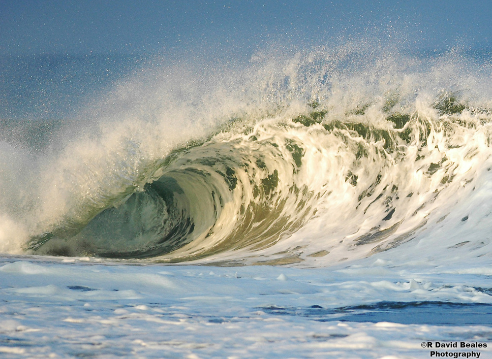 A hollow wave breaks in offshore winds, Monmouth County, NJ