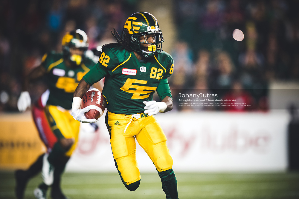 Jamill Smith (82) of the Edmonton Eskimos during the game against the Calgary Stampeders at Commonwealth Stadium in Edmonton AB, Saturday, September 9, 2017. (Photo: Johany Jutras)
