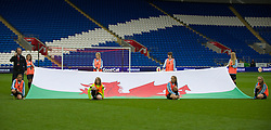 CARDIFF, WALES - Tuesday, August 21, 2014: Welsh flag bearers before the FIFA Women's World Cup Canada 2015 Qualifying Group 6 match at the Cardiff City Stadium. (Pic by Ian Cook/Propaganda)