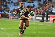 Wasps winger Marcus Watson (15) dives for the try line during the Gallagher Premiership Rugby match between Wasps and London Irish at the Ricoh Arena, Coventry, England on 20 October 2019.