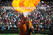 Fire eater in Kaltenberg castle, middle ages festival in July, Bayern, Germany