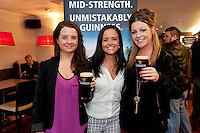Pictured at the Huntsman, Co. Galway is Emma O Brien Wellpark Jennifer O Brien, Wellpark and Celia Johnson, Newcastle attending the GUINNESS Mid-Strength Taste Test Tour. Guinness Master Brewer Fergal Murray and former Irish Rugby International Mick Galwey hosted the event, which featured a special Q&A on rugby and a Pour Your Pint Competition. .Full details are available on www.Facebook.com/Guinnessireland GUINNESS Mid-Strength has the unmistakable distinctive taste and is brewed in exactly the same way as GUINNESS, just with less alcohol at 2.8%...The GUINNESS word and associated logos are trademarks...Enjoy Guinness Sensibly...Visit www.drinkaware.ie..