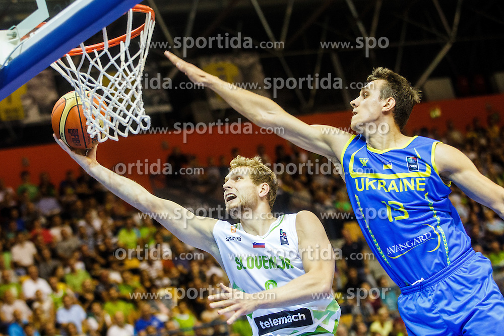 Jaka Blazic of Slovenia and V'Yacheslav Bobrov of Ukraine during qualifying match between Slovenia and Ukraine for European basketball championship 2017,  Arena Zlatorog, Celje on 7th of September 2016, Slovenia. Photo by Grega Valancic / Sportida