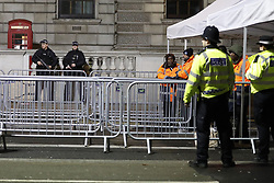 © Licensed to London News Pictures. 31/12/2017. London, UK. Armed police watch over a search area in Whitehall ahead of the New Year's Eve fireworks at midnight. Photo credit: Peter Macdiarmid/LNP