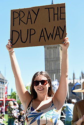 © Licensed to London News Pictures. 10/06/2017. London, UK. Protesters gather in Parliament Square to demonstrate against the prospect of a Tory coalition with the DUP, as well as to celebrate Labour gains, following the General Election which resulted in a hung Parliament .   Photo credit : Stephen Chung/LNP
