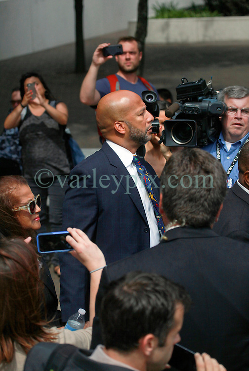 09 July 2014. New Orleans, Louisiana. <br /> Ray Nagin, former mayor of New Orleans leaves Federal Court in New Orleans following his sentencing hearing. Nagin was sentenced to serve 10 years in prison for bribery and money laundering. <br /> Photo; Charlie Varley/varleypix.com