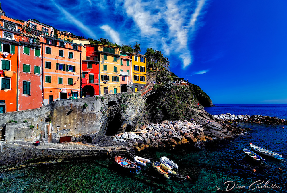 """Vibrant colored Southern Mediterranean view of Riomaggiore""…<br />