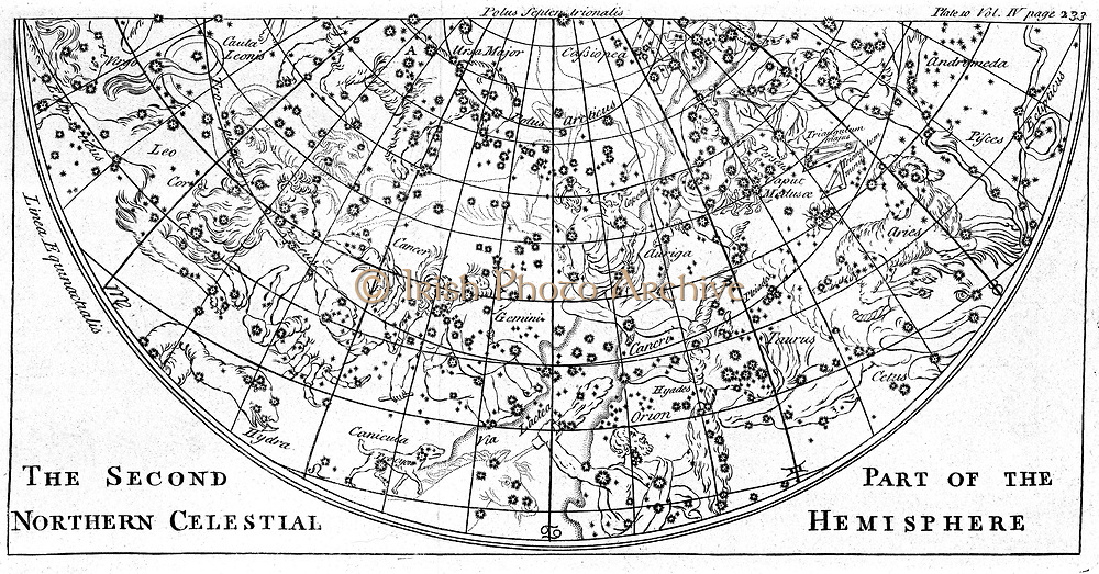 Second part of the star chart of the Northern Celestial Hemisphere showing constellations. Engraving of 1747.