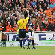 Dundee's Thomas Konrad is yellow carded by ref Bobby Madden - Dundee United v Dundee at Tannadice Park in the SPFL Premiership<br /> <br />  - © David Young - www.davidyoungphoto.co.uk - email: davidyoungphoto@gmail.com