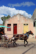Horse and cart in Camaguey, Villa Clara, Cuba.
