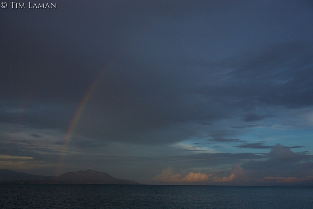 Rainbow at sunrise near Foli Village, Halmahera.