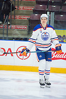 PENTICTON, CANADA - SEPTEMBER 16: Jesse Puljujarvi #39 of Edmonton Oilers warms up against the Vancouver Canucks on September 16, 2016 at the South Okanagan Event Centre in Penticton, British Columbia, Canada.  (Photo by Marissa Baecker/Shoot the Breeze)  *** Local Caption *** Jesse Puljujarvi;