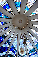Catedral Metropolitana Nossa Senhora Aparecida<br /> indoor roof view of the Metropolitan Cathedral of Brasilia city capital of Brazil UNESCO World Heritage site is an expression of the geniality of the architect Oscar Niemeyer angels by Alfredo Ceschiatti