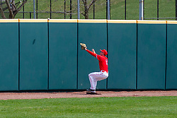 NORMAL, IL - April 08: Gunner Peterson goes after a well hit ball off the wall that takes an unexpected bounce during a college baseball game between the ISU Redbirds  and the Missouri State Bears on April 08 2019 at Duffy Bass Field in Normal, IL. (Photo by Alan Look)
