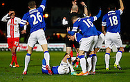 Picture by David Horn/Focus Images Ltd +44 7545 970036<br /> 25/01/2014<br /> Everton players show concern as Bryan Oviedo of Everton has a suspected broken leg during the The FA Cup match at the Lamex Stadium, Stevenage.