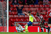 Sunderland Goalkeeper Jason Steele (1) saves at the feet of Derby County forward David Nugent (28)  during the EFL Sky Bet Championship match between Sunderland and Derby County at the Stadium Of Light, Sunderland, England on 4 August 2017. Photo by Simon Davies.