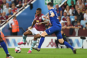 Aston Villa striker Wesley (9) battles for possession  with Everton defender Michael Keane (5) during the Premier League match between Aston Villa and Everton at Villa Park, Birmingham, England on 23 August 2019.
