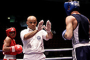 Milan, 05-09-2009 ITALY - Aiba World Boxing Championship Milan 2009.  Middle 75 kg preliminaries..Pictured: Madgaleno Jesus USA red vs Makarov Denis GER blue.Photo by Giovanni Marino/OTNPhotos . Obligatory Credit