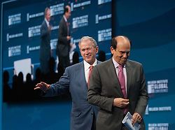 May 3, 2017 - Beverly Hills, California, U.S - Former US President GEORGE W. BUSH, and Founder of the George W. Bush Presidential Center with MICHAEL MILKEN during the 2017 Milken Institute Global Conference at the Beverly Hilton Hotel. (Credit Image: © Prensa Internacional via ZUMA Wire)
